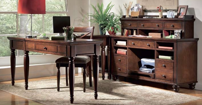 Awesome Riverside Home Office Curved Corner Desk 33524  BF Myers Furniture
